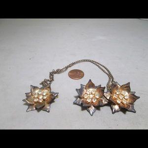 Vintage vermeil sterling silver chain brooch